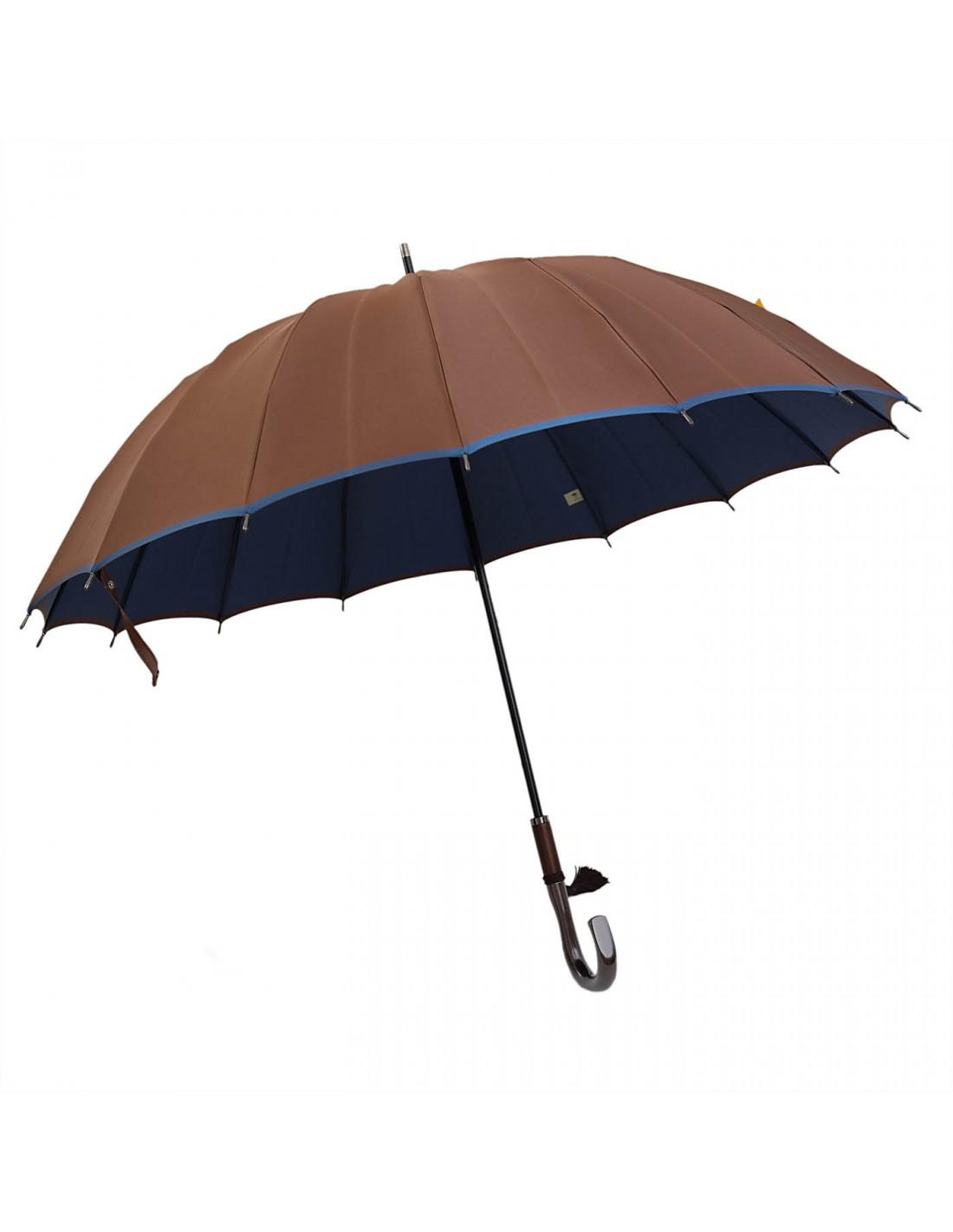 Damen Regenschirm Braun/Blau