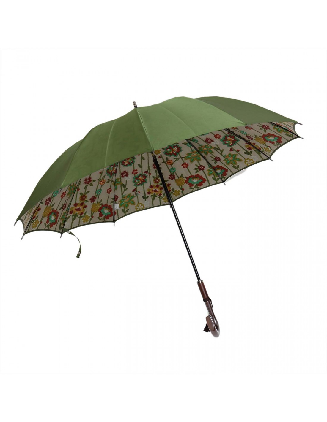 Damen Regenschirm Blumenmuster Grün