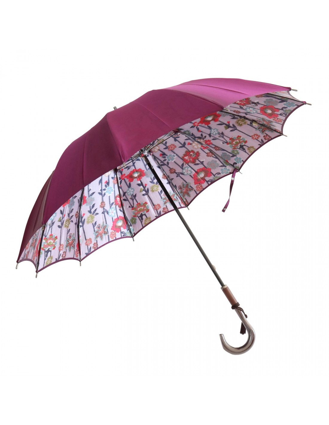 Damen Regenschirm Blumenmuster Violett