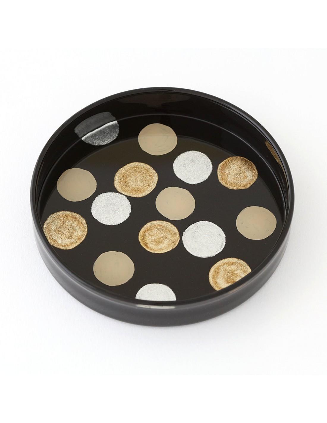 Urushi Glasschale medium circles black