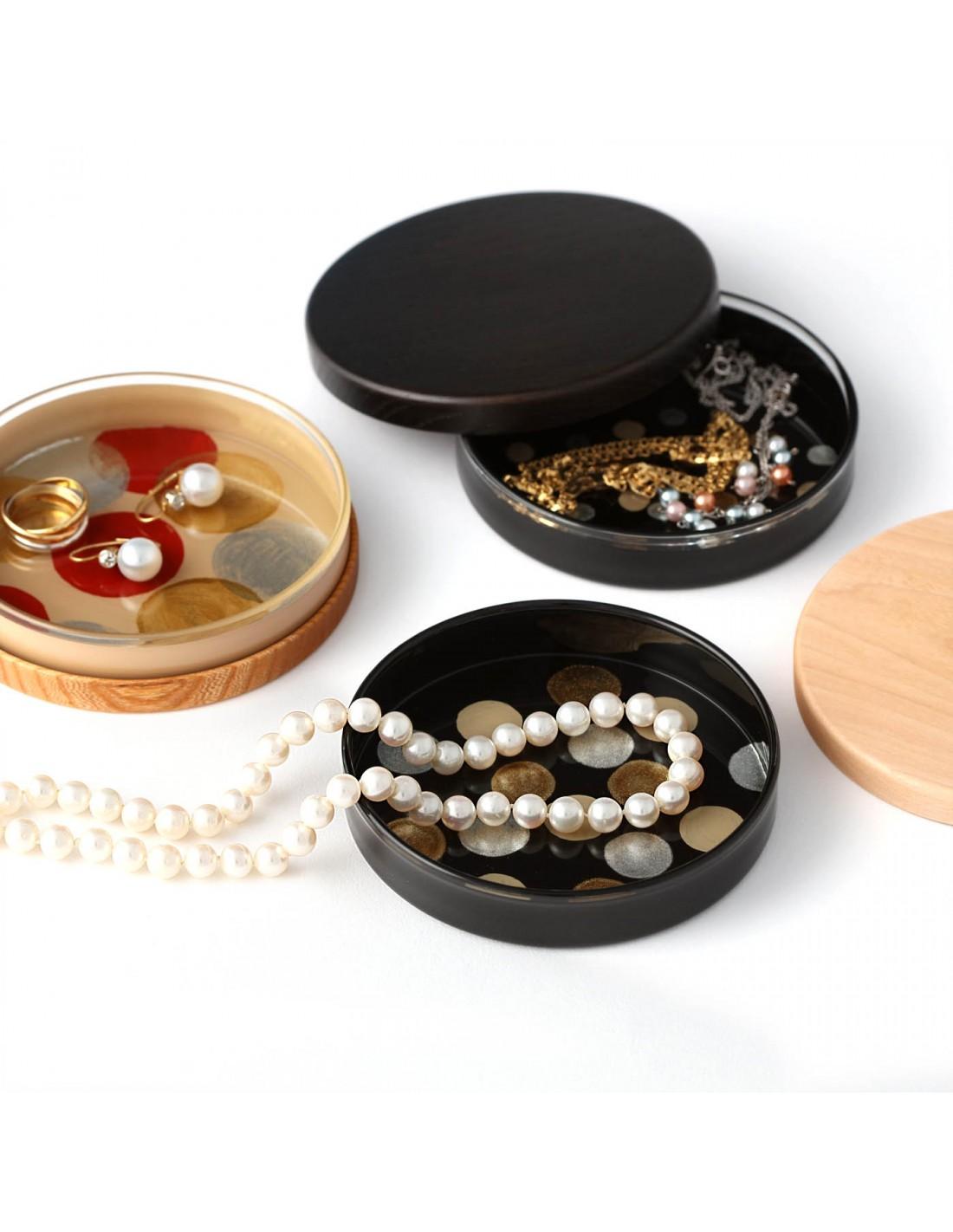 Urushi Glasschale small circles beige