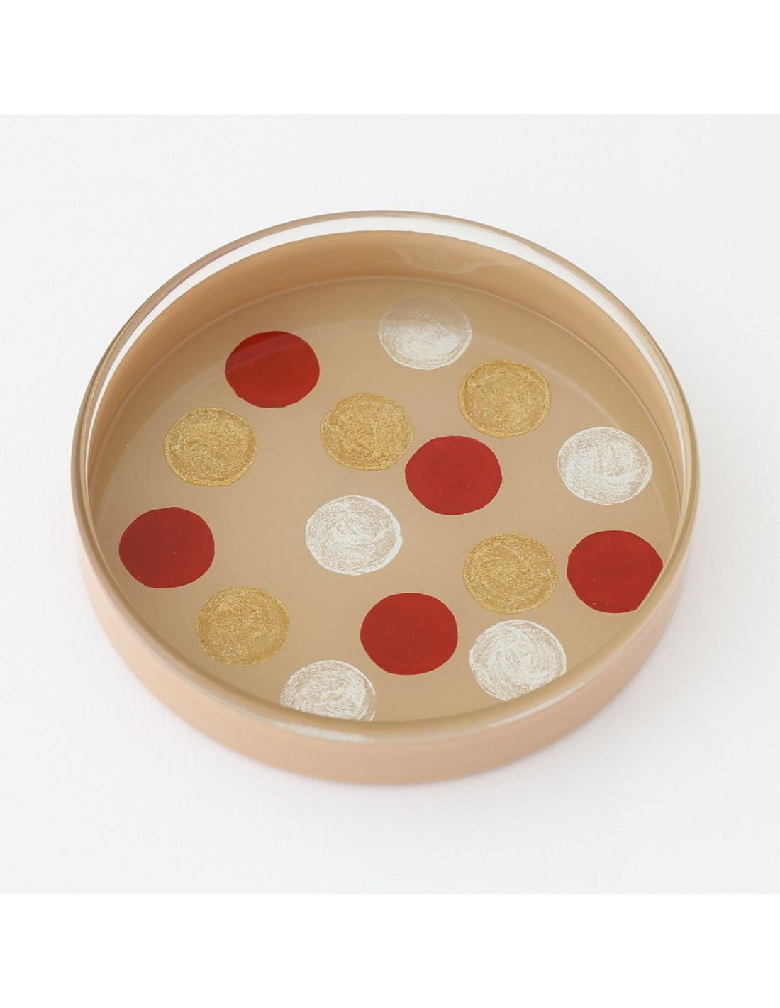 Urushi Glasschale medium circles beige
