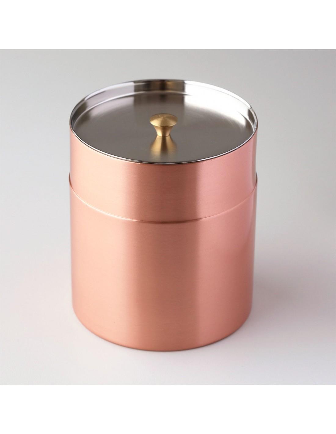 Teedose aus Kupfer glatt